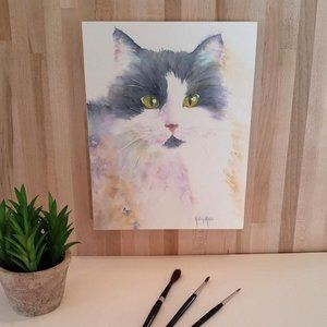 Black and white Cat Watercolor Print-Wood Mounted